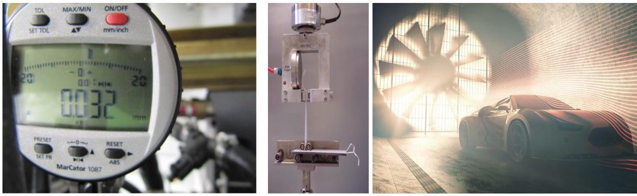 mediciones túnel de viento, túnel de agua, ensayos de prototipos, ensayos de tracción, ensayos de materiales
